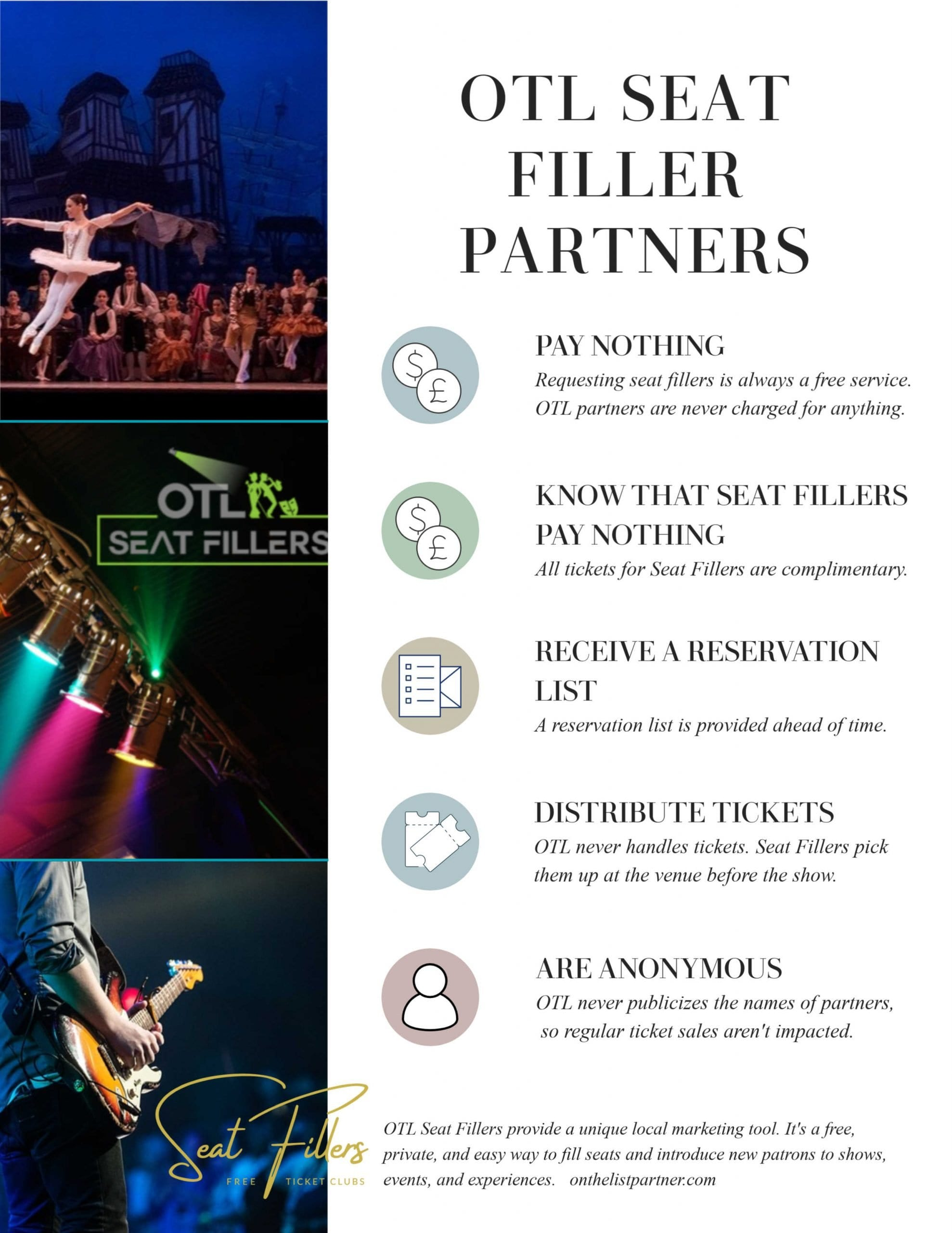seat filling, seat fillers, promote shows, paper the house, papering