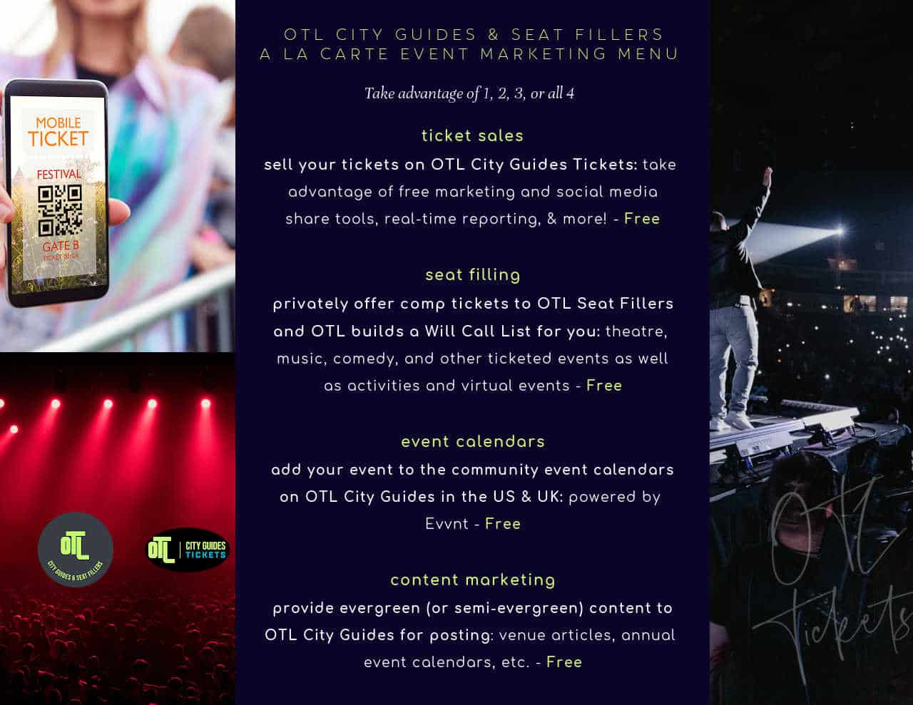 ticket sales, otl city guides tickets, otl seat fillers, event marketing tools, sell tickets online